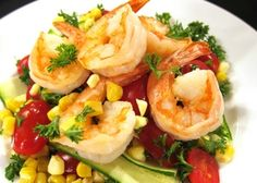 Grilled Shrimp with Fresh Corn, Zucchini & Tomato Salsa  | G-Free Foodie #GlutenFree Seafood Dishes, Seafood Recipes, Grilling Recipes, Cooking Recipes, Mexican Food Recipes, Dinner Recipes, Zucchini Tomato, Healthy Dishes, Healthy Recipes