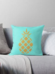 'Gold Metallic Foil Pineapple tropical Summer ' Throw Pillow by ColorFlowArt Girls Bedroom, Bedroom Decor, Pineapple Room, Abstract Digital Art, Teal And Pink, Pillow Room, Colorful Pillows, Animal Pillows, Custom Pillows