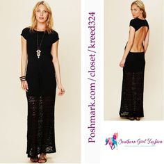 """Little Black Dress LBD FREE PEOPLE Cutout Maxi Size Small. New With Tags. $298.00  Stretchy maxi with drawstring waist and crochet bottom.  Cotton, Lycra.  By Nightcap for Free People.  Nightcap Sizing Conversion:  1 = XS. 2 = Small. 3 = Medium. 4 = Large.   Measurements for Small: Length: 51""""  Bust: 32""""  Waist: 28.   ❗️ Please - no trades, PP, holds, or Modeling.   ✔️ Reasonable offers considered when submitted using the blue """"offer"""" button.    Bundle 2+ items for a 20% discount!    Stop by…"""