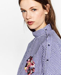 Image 6 of FLORAL EMBROIDERED STRIPED SHIRT from Zara