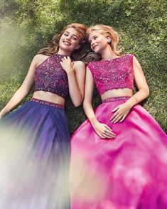 Alyce Paris is thankful for… best friends who always make us laugh.   | Alyce Paris Prom 2017 dresses {Style 6742} Two piece with a mikado skirt, breathtaking beaded fishnet top with a cut out back. www.alyceparis.com