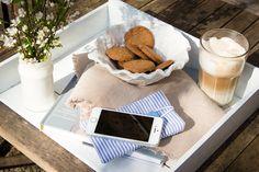 Handytaschen - Smartphone Tasche Handytasche blau weiß Streifen - ein Designerstück von Loewenliebes bei DaWanda