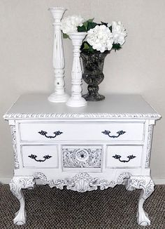 DIY Shabby French Decor: White Glazed Chippendale Lowboy & Detailed Instructions on How-to Paint Furniture by {createinspire}
