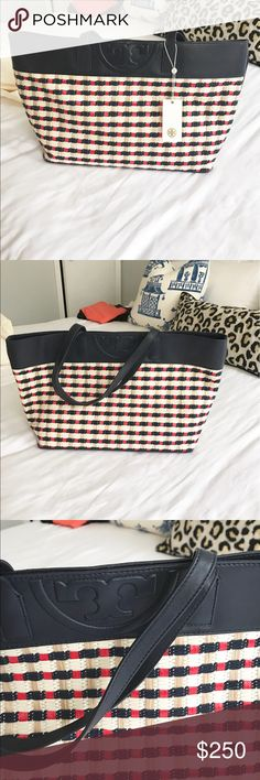 Tory Burch multi straw tote Brand new with tags Tory Burch straw tote with leather trim. Still has tags on it, will come with dust bag. Tory Burch Bags Totes
