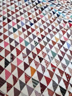 Vintage Tiny Triangles Quilt Top Hand Pieced by AStringorTwo
