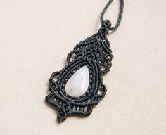 Macrame Moon Stone Pendant Necklace Gemstone Vintage by Amonithe