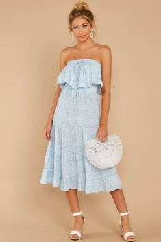 dress for philanthropy round of sorority recruitment Sorority Rush Week, Sorority Recruitment Outfits, Outfit Of The Day, Fall Outfits, Strapless Dress, Light Blue, Floral Prints, Night, Formal