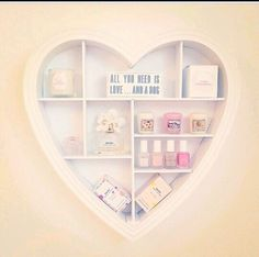 Pastel decor for the heart shelf.