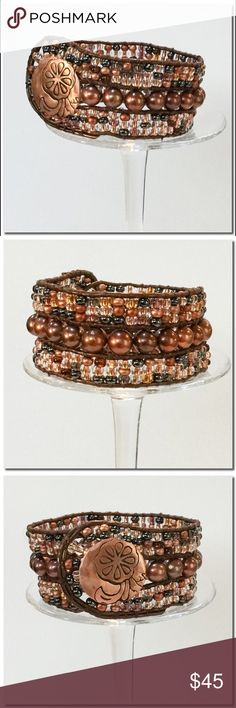 "BUY2️⃣Get 1️⃣🆓🍁SALE🍁Handmade Cuff Bracelet Handmade Leather and Bead Cuff Bracelet  Three row cuff is a beautiful mix of Czech glass beads in copper mix and cultured Fresh water Pearls. All beads are handwoven onto brown leather cord. A handcrafted copper button is used for closure. Finished size is 8 5/8"" long and 1 1/4"" wide. Handmade Jewelry Bracelets"
