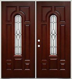 Rustic Pre-finished Mahogany Fiberglass Prehung Door Unit with ...