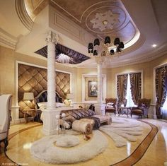 Dream master bedroom Do not really like the ceiling pattern but amazing space!