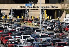 US/Mexico Border at San Diego and Tijuana ~ It took a long time to get from Mexico back into the United States because there were so many people in line.