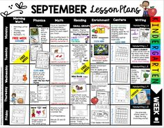 LESSON PLANS FOR SEPTEMBER in kindergarten - back to school materials - fun worksheets - use in centers or rotations - Free kindergarten lesson plans – back to school – first day of school activities – first week – year long curriculum map – kindergarten lesson planning – September kindergarten standards Texas TEKS Common Core Phonics Lesson Plans, Phonics Lessons, Kindergarten Lesson Plans, Teaching Kindergarten, Preschool, Kindergarten Centers, Teaching Ideas, Rhyming Pictures, Daily Lesson Plan