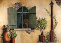 Tuscan mural. Old world mural. Window mural. Mural created by Murals By Renick, Houston, TX. (940) 230-6829, www.muralsbyrenick.com. Houston muralist.