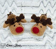 Reindeer Booties PDF Crochet Pattern Toddler por oneandtwocompany