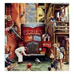 """Road Block"", July 9,1949 Giclée-Druck von Norman Rockwell bei AllPosters.de"