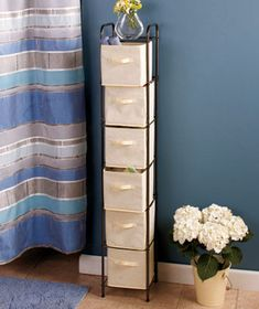 """Save precious space while keeping nearly any room organized with a 6-Bin Storage Unit. This compact yet roomy unit has 6 removable nonwoven bins with convenient 4"""" handles. Use them to hold everything from bathroom to"""