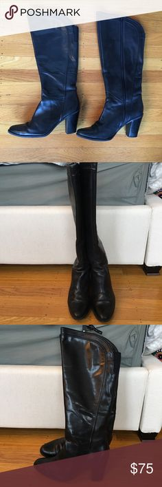 Leather boots Black leather high heel knee high equestrian inspired boots.  Side zip and stretch at back of the knee.  Excellent used condition.  Some minor signs of wear but no scuffs or scratches. Audrey Brooke Shoes Heeled Boots