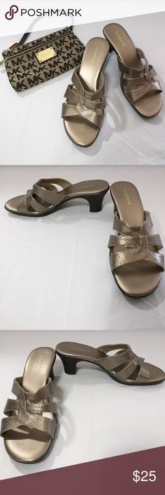 Liz Claiborne Tara Slide Bronze color Snake pattern texture design 7 1/2 M 1 inch elastic on inside side for additional comfort All man-made materials Liz Claiborne Shoes Sandals