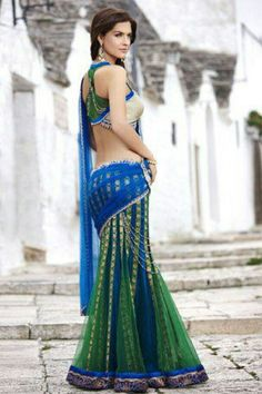 Beautiful blue and green half saree lengha style Indian Dresses, Indian Outfits, Desi Clothes, Indian Clothes, Indian Couture, Half Saree, Beautiful Saree, India Fashion, Indian Designer Wear