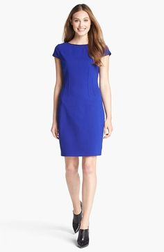 T Tahari 'Skyler' Faux Leather Trim Seamed Sheath Dress available at #Nordstrom