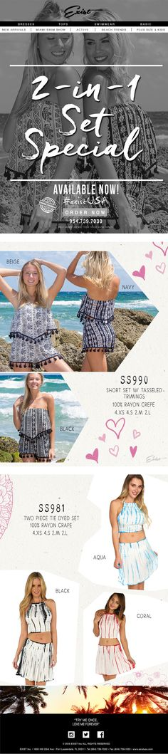2-IN-1 Set Special! #existUSA #ladiesshorts go to facebook.com/ExistINC and like us! #beachshorts