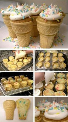 Ice Cream Cone Cupcakes with a custom pan! Ice Cream Cone Cupcakes with a custom baking pan. All you need are ice cream cones, cake batter, and icing. Great for kids birthday parties! Yummy too. Just Desserts, Delicious Desserts, Dessert Recipes, Yummy Food, Kabob Recipes, Baking Recipes, Delicious Cupcakes, Baking Ideas, Recipies
