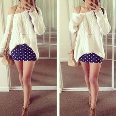 Sweater And Polka Dot Skirt