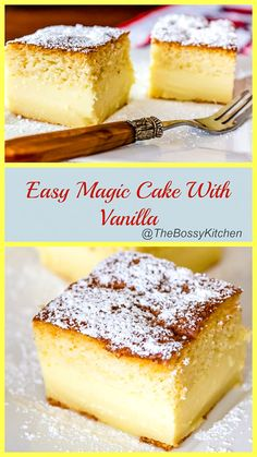 Easy Magic Cake With Vanilla is an easy dessert that could be perfect for a potluck or a party. One batter, three layers of Heaven! Vanilla Magic Custard Cake, Vanilla Cake, Vanilla Desserts, Custard Desserts, Easy Desserts, Dessert Recipes, Baking Desserts, Pastry Recipes, Cookie Desserts