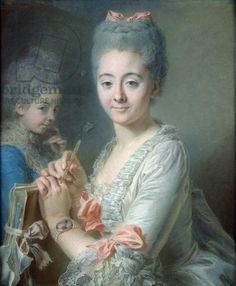 Madame Theodore Lacroix Drawing a Portrait of her Daughter, Suzanne Felicite (pastel on paper)