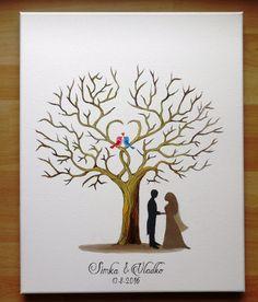 Wedding tree Guestbook Wedding gift  Fingerprint tree by JulsiArt