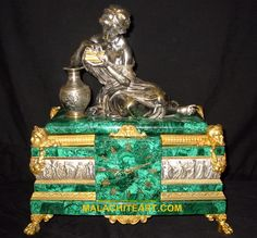 She is holding her golden jewelry box in a contemplative fashion. The feet and swags are ormolu with their original bright gilding. The well made bell strike movement is signed Deniere, Paris. Antique Mantel Clocks, Wood Clocks, Vintage Clocks, French Clock, Clock Shop, Azurite Malachite, Clock Art, Bronze, Golden Jewelry