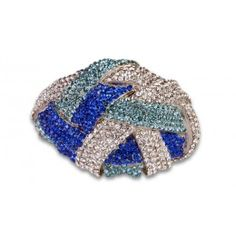 Jewelry Galore - Large Knot Bracelet in Blue & Silver - $77 #jewelry #women #knot #silver #fashion