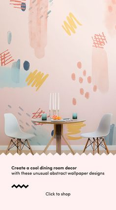 Create a stunningly unique dining room space with these abstract paint wallpaper murals and wow all Playroom Mural, Kids Room Murals, Mural Wall Art, Diy Wall Art, Paint Wallpaper, Dining Room Wallpaper, Dining Room Paint, Wallpaper Murals, Bathroom Mural