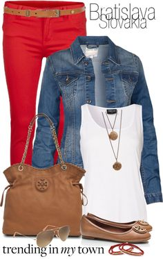 Red capris, denim jacket, white shirt, brown accessories