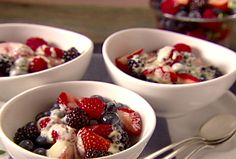 """Grapefruit Zabaglione over Mixed Berries from FoodNetwork.com. Be sure to use an electric mixer to avoid an """"eggy"""" taste. I also omit the grapefruit zest!"""