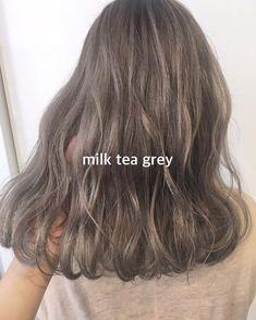 Korean Hair Color Ash, Korean Hair Dye, Korean Hair Medium, Ash Green Hair Color, Hair Lights, Hair Color Streaks, Hair Highlights, Medium Hair Styles, Curly Hair Styles