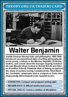 Walter Benjamin - Theory trading cards. Could there be anything more fun?!? Everyone from Carl Jung to Bell Hooks.