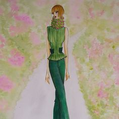 Fashion illustration inspired by flowers