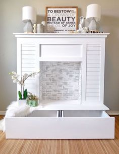 Faux Fireplace with Hidden Storage - Learn how to create this DIY Shiplap Faux Fireplace with Limewash and Chalk Paint for your living r - Faux Fireplace Mantels, Fireplace Bookshelves, Shiplap Fireplace, Fireplace Mantle, Fireplace Surrounds, Fireplace Design, Fireplace Ideas, Mantles, Fireplace Lighting