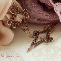 Carru * tender earrigs  rose quartz, copper  * wire wrap * wirewrapping * wire artisan * handmade * wire * work * wirewrapped * wired