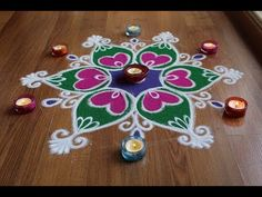 Here is a simple freehand flower rangoli designt is based on one of my original rangoli designs and I have tried to do some innovation with the placement of . Easy Rangoli Designs Diwali, Rangoli Simple, Rangoli Designs Latest, Rangoli Designs Flower, Rangoli Border Designs, Small Rangoli Design, Flower Rangoli, Latest Rangoli, Simple Rangoli Designs Images