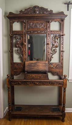 Antique Oak Entry Hall Tree With Storage Bench Amp Beveled