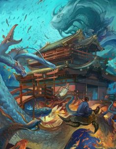 """niuner: """" Ryu Gu Jo This piece was illustrated for Japanese folk tale """"Urashima Tarou"""". In the story, a young boy Tarou saves an endangered sea turtle and as reward, the turtle takes the boy. Myths & Monsters, Sea Monsters, Mythological Creatures, Mythical Creatures, Japanese Yokai, Japanese Cartoon, World Mythology, Underwater City, Japanese Mythology"""