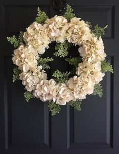 Wedding Wreath Elegance   Ivory Wedding Decorations   Front Door Wreaths   Hydrangea Wreath   Wedding Wreath   Bridal Shower Decor