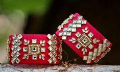 Pink Color Kundan Stones Embelllished Silk Thread Kada Set Silk Thread Kada Set Pink Colored 2 Kada Set Kundan And Stones Embellished Size- Silk Thread Bangles Design, Silk Bangles, Bridal Bangles, Thread Jewellery, Diy Jewellery, Fabric Jewelry, Jewellery Making, Jewelry Crafts, Handmade Jewelry