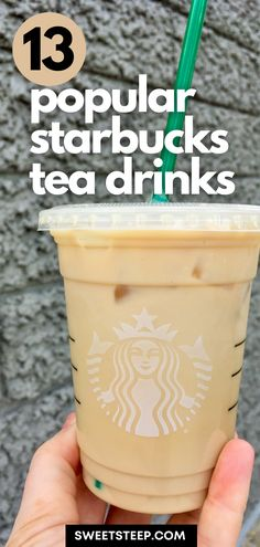 Wondering what Starbucks tea drinks to try? This list shows the 13 most popular tea drinks, hot and iced, that Starbucks customers order regularly. #starbucks #tea #drinks #drinkstotry #howtoorder #icedchai Starbucks Tea, How To Order Starbucks, Iced Chai Tea Latte, Iced Tea, Tea Drinks, Beverages, Coffee World, Latte Recipe, Brewing Tea