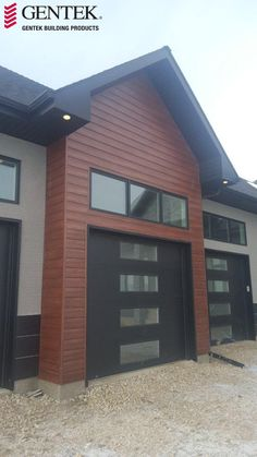 Sagiper product in the Mocha Redwood colour installed with a neutral stucco colour and black soffit, fascia, soffit, eaves and trims.
