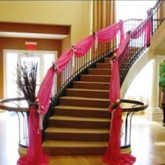 House decorations home inspiration for indian wedding decorations pink draped staircase drapery wedding junglespirit Image collections