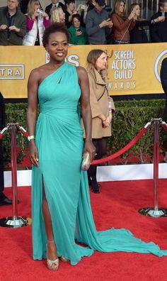 Viola Davis, con vestido de Monique Lhuillier